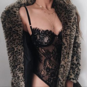Isabella Black Lace Bodysuit from LA With Love
